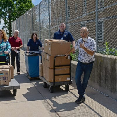 Suits for Success first trip to Robert E. Ellsworth Correctional Center in Union Grove, Wisconsin, with Bill Denwood and Tim Ford, expanding Suits' services to Wisconsin.  Photo by Bill Ackerman Tuesday, June 23, 2020